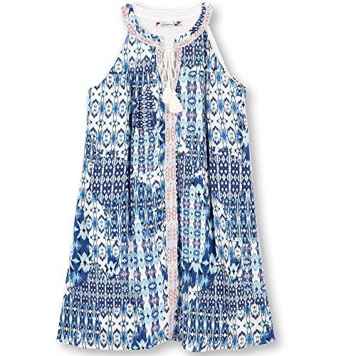Speechless Big Girls' Printed Gauze Mandarin Collar Dress, Denim Pink, 14 (Pink Mandarin Collar Dress)