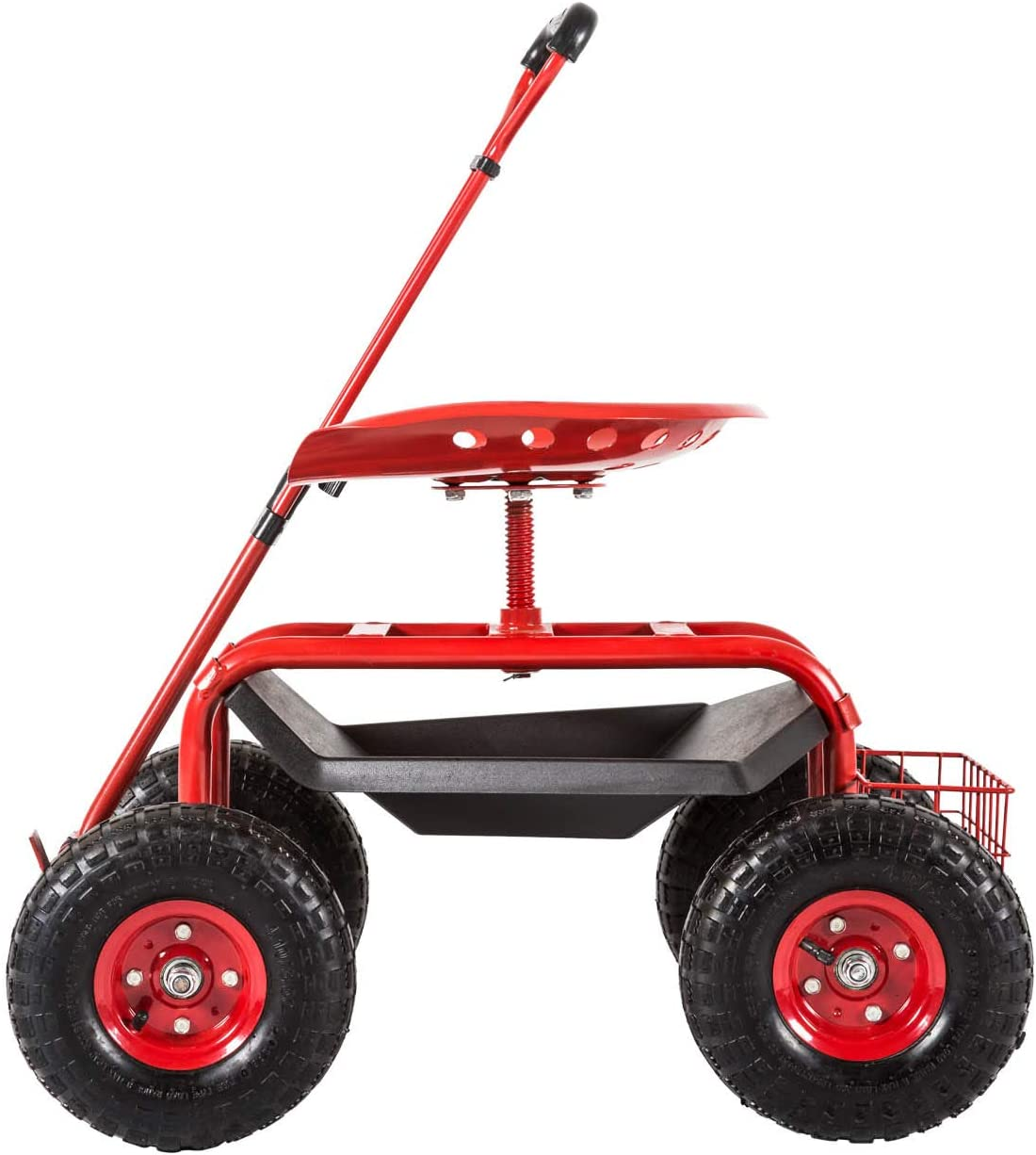 Kinsuite Garden Cart Rolling Work Seat Outdoor Utility Lawn Yard Patio Wagon Scooter for Planting, Adjustable Handle 360 Degree Swivel Seat Red