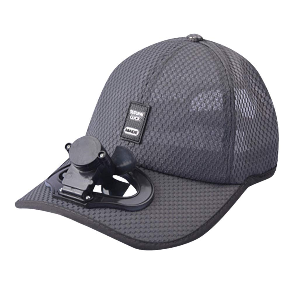 TIFENNY 2019 New Fan Cap Summer Fan Cooling Baseball Cap Hat USB Charging Breathable Shade Sunscreen Hat Dark Gray