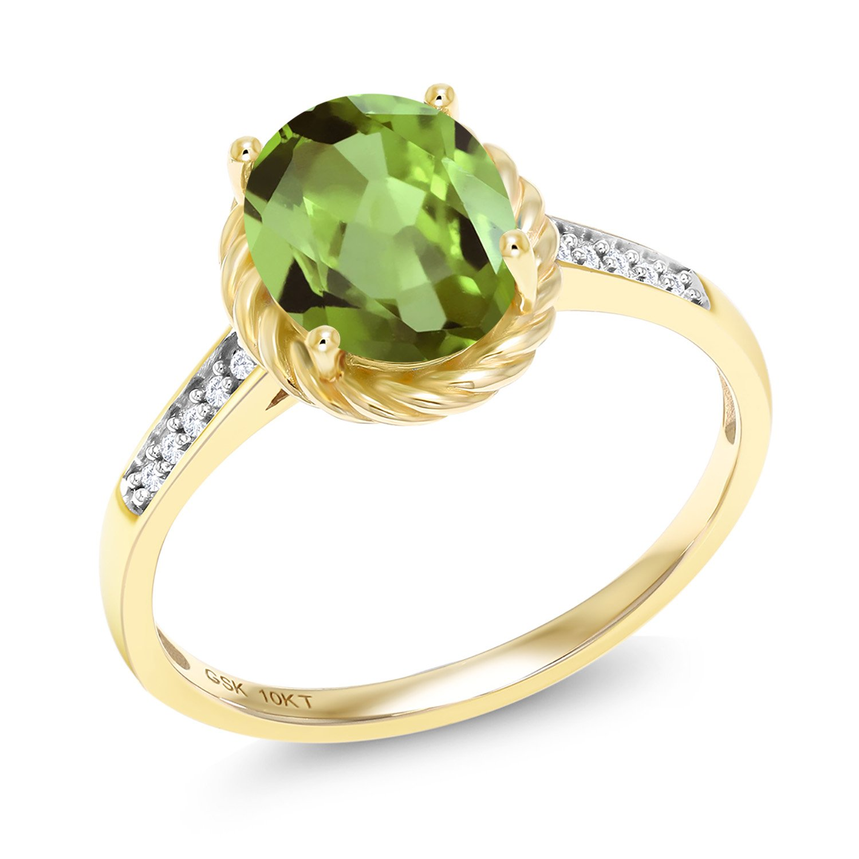 1.87 Ct Oval Green Peridot White Diamond 10K Yellow Gold Ring (Size 6)