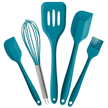 StarPack Basics Silicone Kitchen Utensils Set (5 Piece) - High Heat Resistant to 480°F, Hygienic One Piece Design Large and Small Spatulas, Whisk & Basting Brush