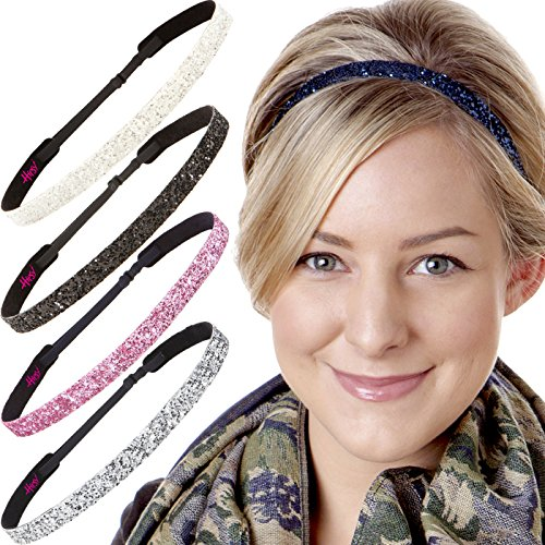 Hipsy 5pk Women's Adjustable NO SLIP Skinny Bling Glitter Headband Multi Gift Pack (Silver/Navy/L. Pink/Black/White)