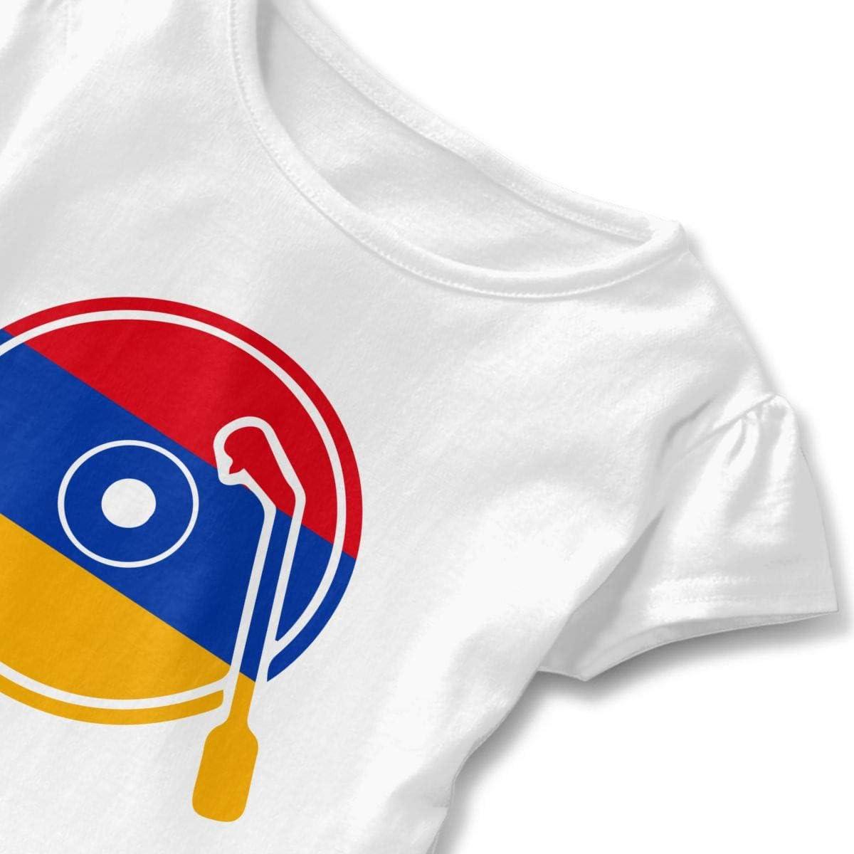 SC/_VD08 Vinyl Record Armenia Flag Kids Children Short-Sleeved Shirt Dress