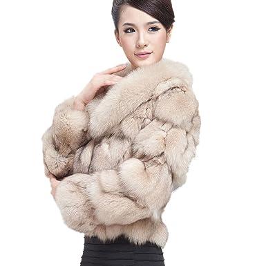 Women's Real Fox Fur Coat with Fox Fur Collar Thick Warm Coat Full ...