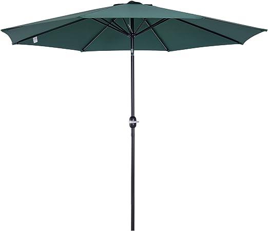 Outsunny Parasol Grande de Jardín Sombrilla para Exterior Desmontable Ángulo Regulable y Manivela de Apertura Fácil Φ300x245cm Verde: Amazon.es: Jardín