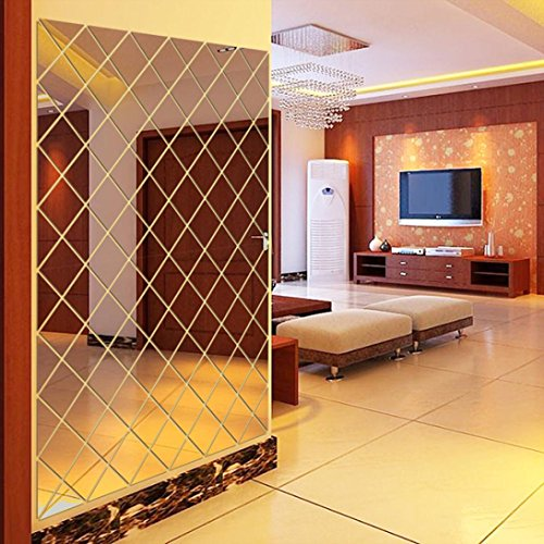 Auwer Mirror Wall Stickers Floor Stickers Acrylic Art Mural Decals F
