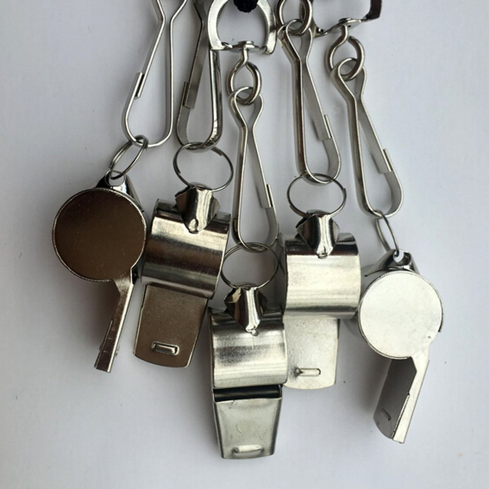 Emergency Whistles with Lanyard by Bravodeal Stainless Steel Coach Whistle with Lanyard 2 pack