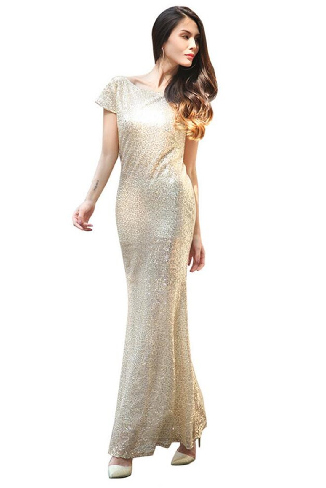 Tmrow 1pc Women Sparkly Bridesmaid Dress Long Sequin Wedding Party Prom Gown,XXL