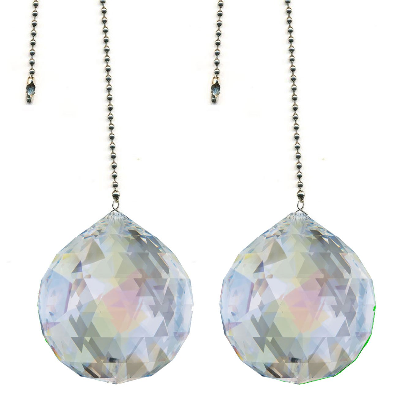CrystalPlace Ceiling Fan Pull Chain 30mm Swarovski Strass Aurora Borealis Faceted Ball Prism Fan Pulley Set of 2