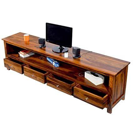 Daintree Sheesham Wood 1.96 Meter Dolly 4 Draw TV Unit Cabinet Entertainment Stand (Natural Teak Finish)