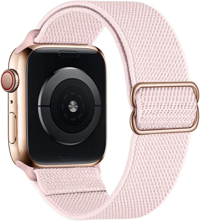 SIRUIBO Stretchy Nylon Solo Loop Bands Compatible with Apple Watch 38mm 40mm, Adjustable Stretch Braided Sport Elastics Women Men Strap Compatible with iWatch Series 6/5/4/3/2/1 SE, Pink Sand