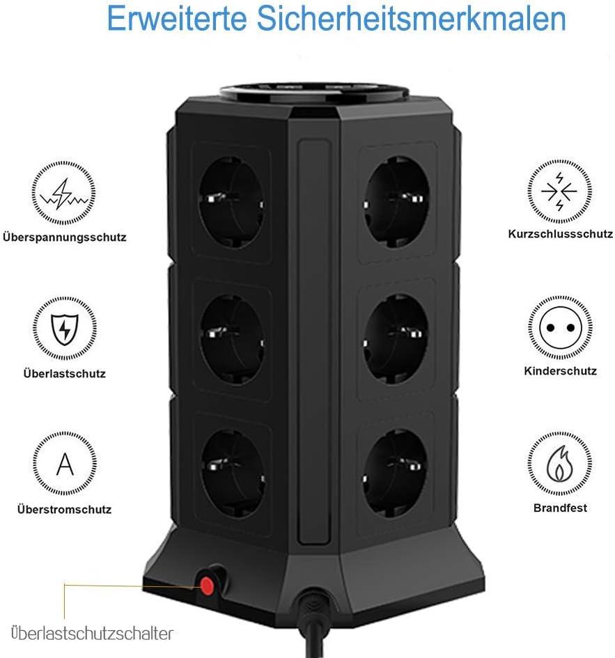 TESSAN Tour Multiprise Parasurtenseur Parafoudre avec 12 Prises Noir et 5 Ports USB Interrupteur Protection Contre Les Surcharges et Les Surtensions Adaptateur Douille Cordon de 2m 10A 2500W
