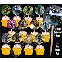Party Over Here Mortal Kombat Video Game Double-sided Images Cupcake Picks Cake Topper -12