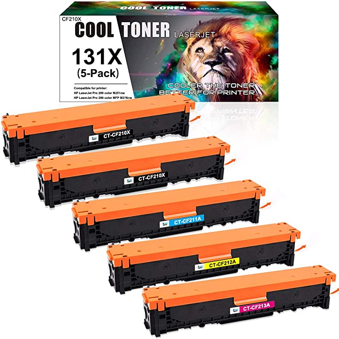 Cool Toner Compatible Toner Cartridge Replacement for HP 131A CF210A 131X CF210X Laserjet Pro 200 Color MFP M251nw M276nw M276n M251n CF211A CF212A CF213A Toner Ink (Black Cyan Yellow Magenta, 5-Pack)
