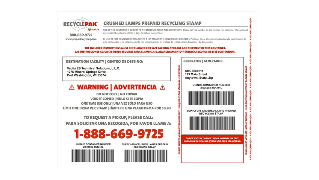 Supply 276 Crushed Lamps Prepaid Recycling Stamp Amazon