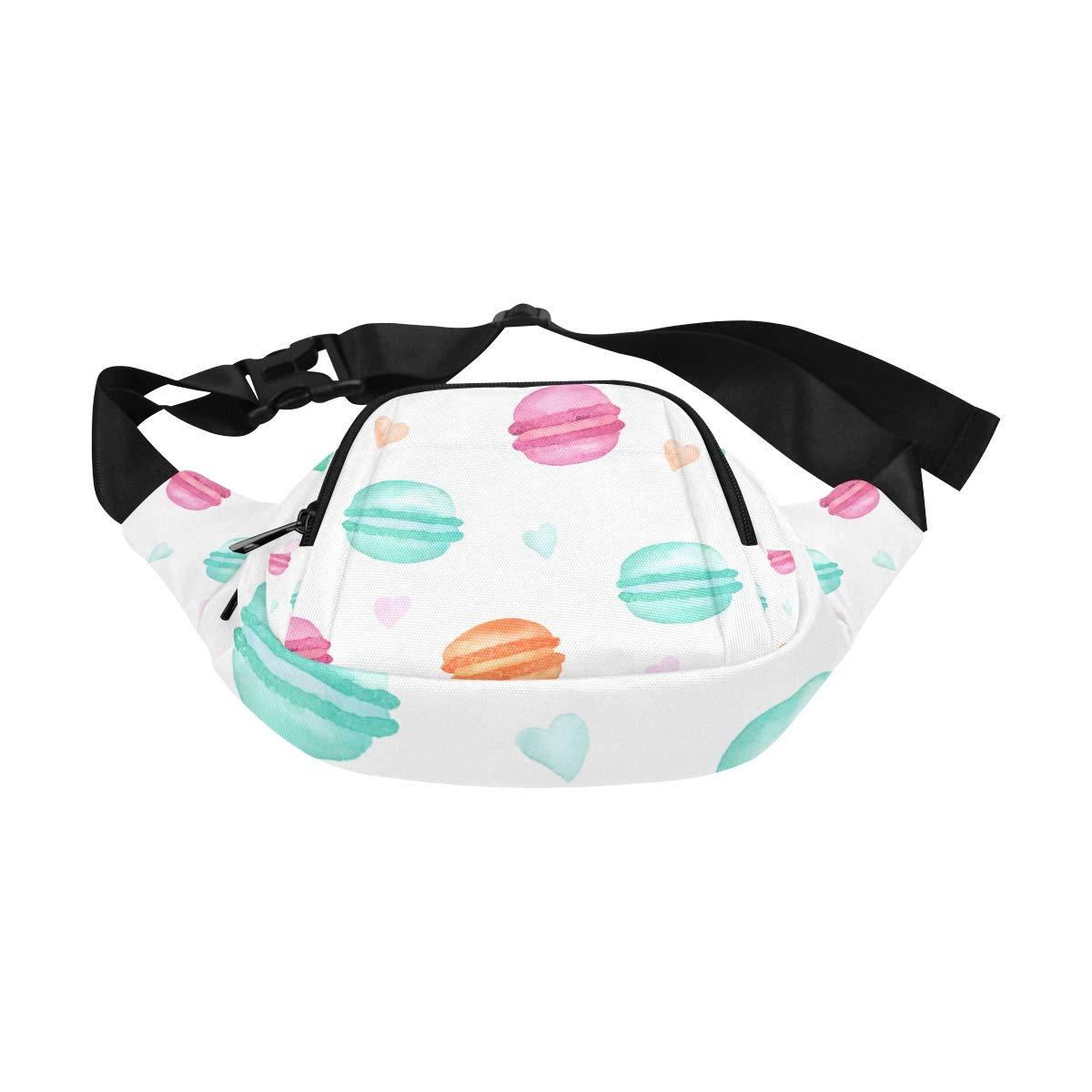 French Sweets Handdrawn Macaroon Fenny Packs Waist Bags Adjustable Belt Waterproof Nylon Travel Running Sport Vacation Party For Men Women Boys Girls Kids