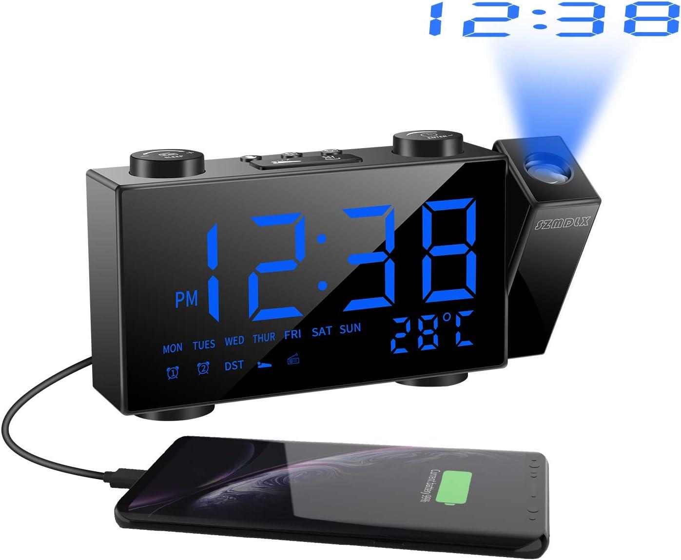 投影時計 SZMDLX デジタル時計 繰り返し設定 ノブで時刻設定 投影 FMラジオ 温度表示 電源式 投影方向反転可能 180度回転 ダブルアラーム 目覚まし時計 壁 天井 日本語取扱説明書付き