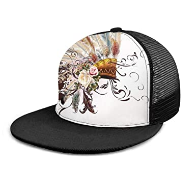 Gorra de béisbol con diseño de Flores y Plumas, Unisex, 3D Hip Hop ...