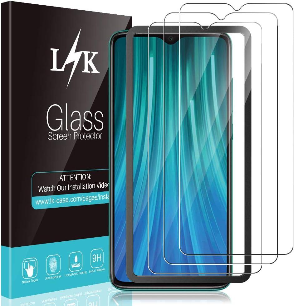 L K 3 Pack Protector de Pantalla para Xiaomi Redmi Note 8 Pro, Cristal Vidrio Templado Premium [Dureza 9H] [Funda Compatible] [Anti-Arañazos] [Sin Burbujas] [Kit Fácil de Instalar]