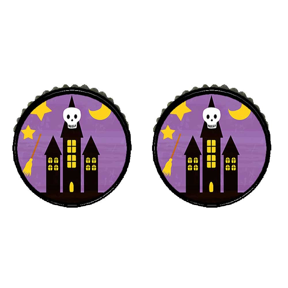 GiftJewelryShop Bronze Retro Style Halloween skull haunted house Photo Stud Earrings 10mm Diameter