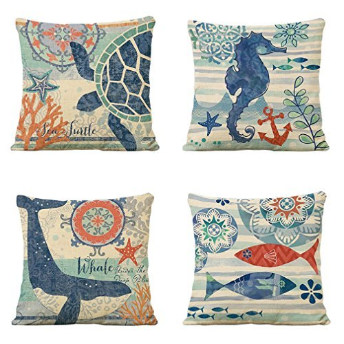 LEIOH Mediterranean style Cotton Linen Decorative Throw Pillow Case Cushion Cover Sets of 4 18X18 Inches