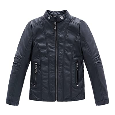 YISUMEI Collar Motorcycle Coat Boys Faux Leather Jacket Thick
