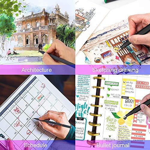 L\'AISE VIE 24 Fineliner Color Pens Set, 0.4mm Fine Tip Pens, Colored Fine Line Sketch Drawing Pen, Color Pen for Planner