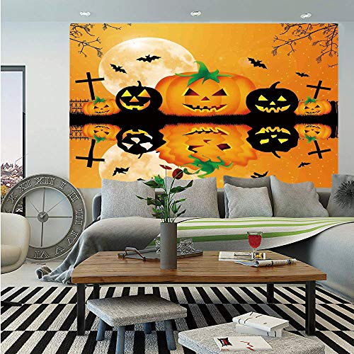 SoSung Halloween Decorations Huge Photo Wall Mural,Spooky Carved Halloween Pumpkin Full Moon with Bats and Grave Lake,Self-Adhesive Large Wallpaper for Home Decor 108x152 inches,Orange Black