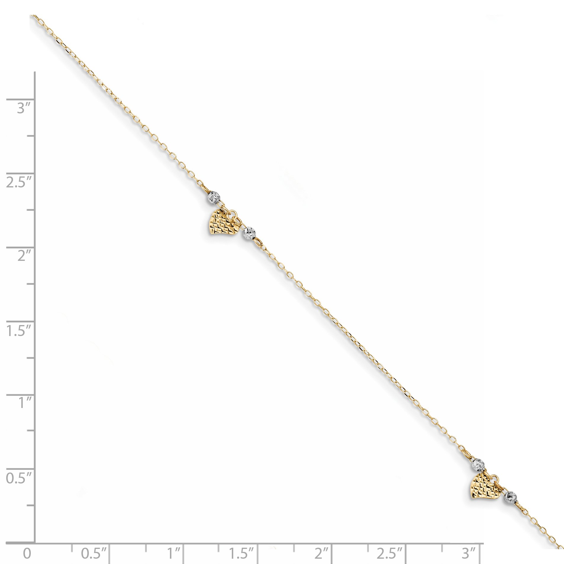 ICE CARATS 14k Two Tone Yellow Gold Heart Beads 1in. Adjustable Chain Plus Size Extender Anklet Ankle Beach Bracelet Fine Jewelry Gift Set For Women Heart by ICE CARATS (Image #2)