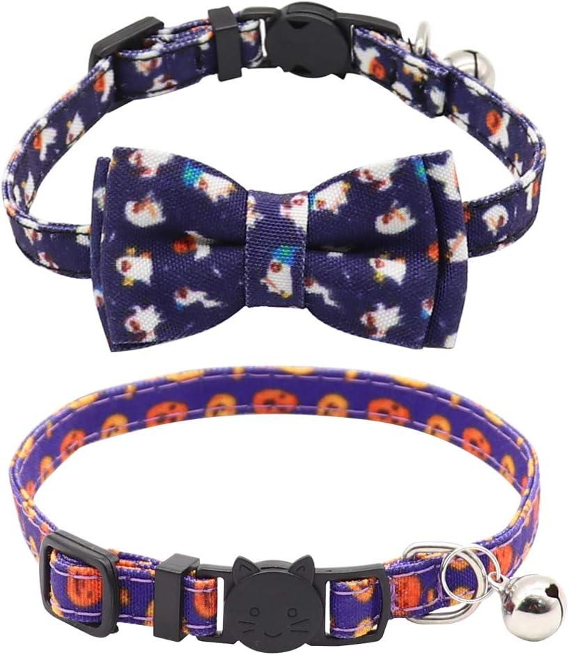 Derbway Collares para Gatos de Liberación Rápida, 2PCS Cuello de Seguridad Ajustable Linda Pajarita con Campana para Mascota, Gatito, Cachorro