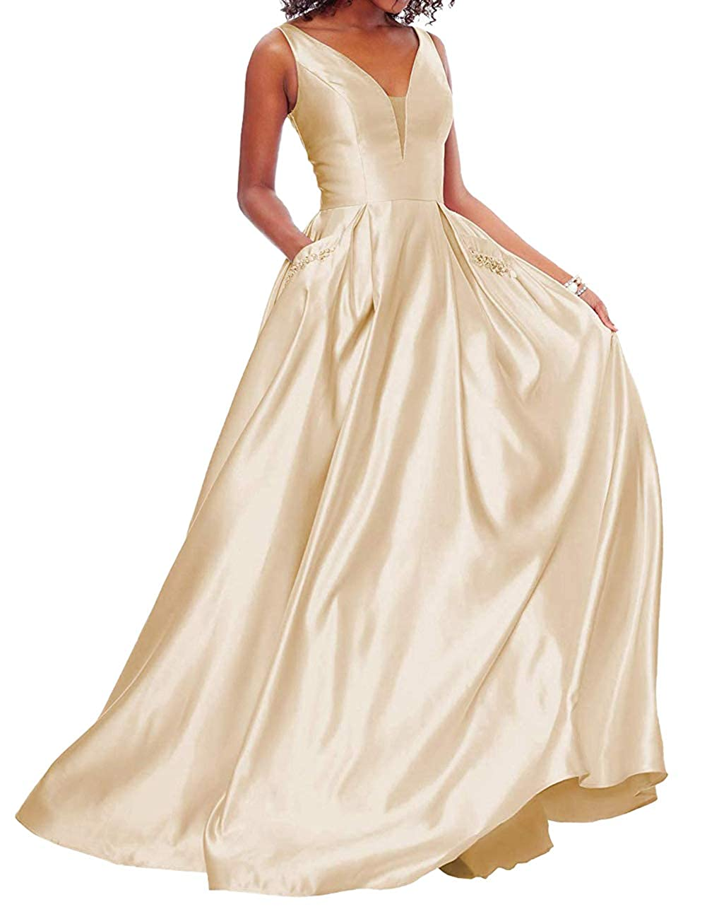 Champagne JAEDEN Prom Dresses Long Evening Gowns Formal V Neck Prom Dress Sleeveless Evening Dresses Party Gown with Pocket