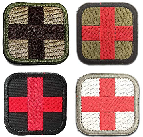 SOUTHYU 4 Pack Tactical Medic Cross Morale Patches with Hook & Loop Embroidered Medical First Aid Military Backpack Uniform Armband Badge Tags Decorative Appliques ()
