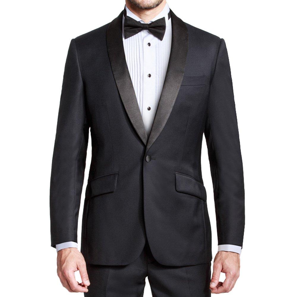 HBDesign Men 2 Piece 1 Button Shawl Lapel Business Formal Suit Black 66R by HBDesign
