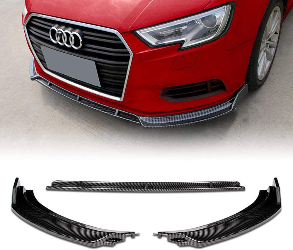 Stay Tuned Performance PU//686//PCF Carbon Fiber Print Front Bumper Body Kit Lip 3PCS Compaitble with 2017-2019 A3//S3
