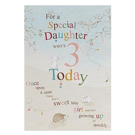 Amazon.com: Hija tercer cumpleaños, tarjeta de ...