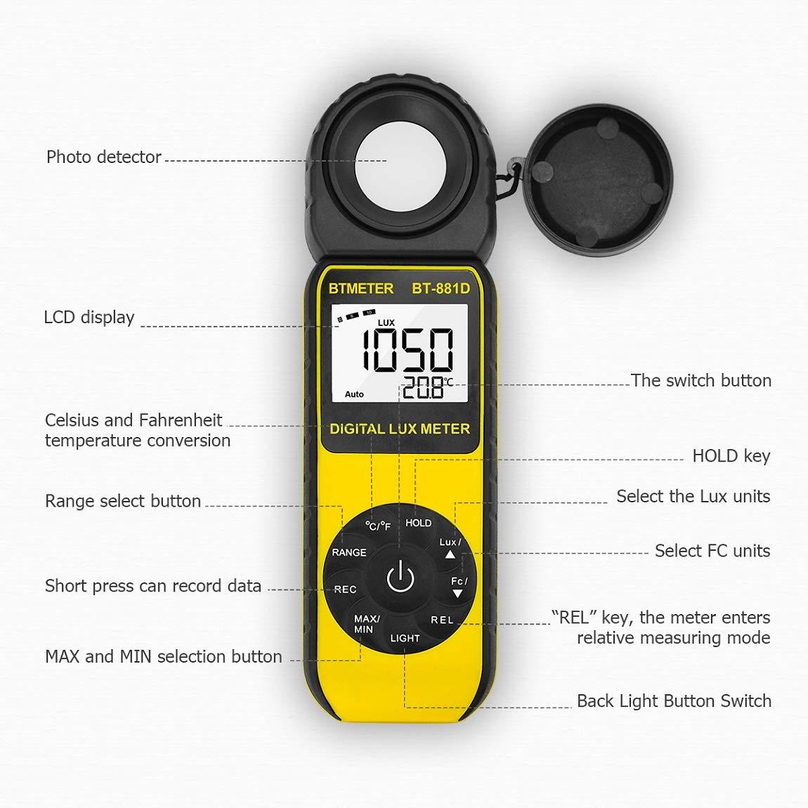 BTMETER BT-881D Digital Illuminance Light Meter, Measure Lights 0.01~400,000 Lux (0.01~40,000 FC) Foot Candles Luxmeter with 270º Rotated Sensor for Plants LED Lights Indoor Outdoor Light Tester by BTMETER (Image #4)