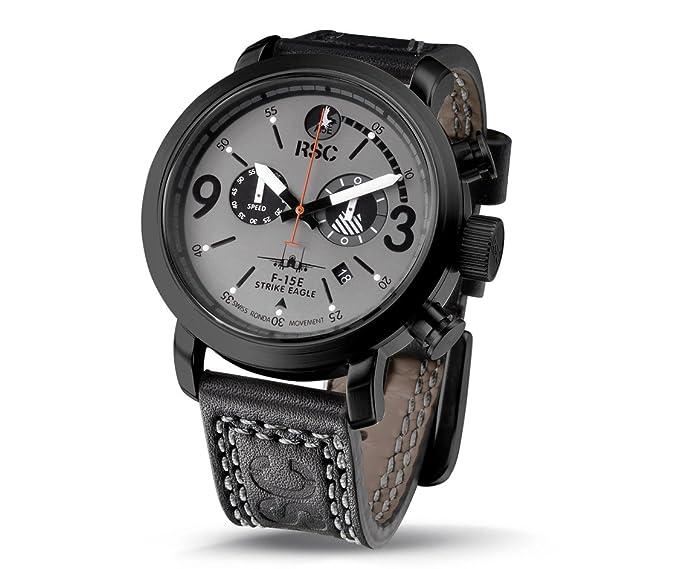 RSC Relojes De Piloto Hombres Análogo De Cuarzo Reloj con Cuero Pulsera F-15E Strike Eagle rsc5711: Amazon.es: Relojes