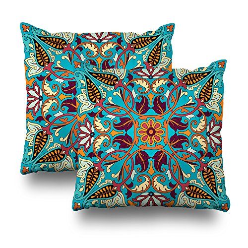 (Set of 2 Decorativepillows Case Throw Pillows Covers for Couch/Bed 18 x 18 inch, Paisley Kerchief Ornament Silk Headscarf Interior Square Oriental Fabric Home Sofa Cushion Cover Pillowcase Gift)