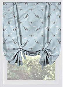 LCGGDB Airplane Blackout Tie Up Curtain Panels,Old Aircraft Biplanes Thermal Insulated Blackout Tie Up Panel, Rod Pocket Home Fashion Balloon Shade for Small Window,Bedroom,48