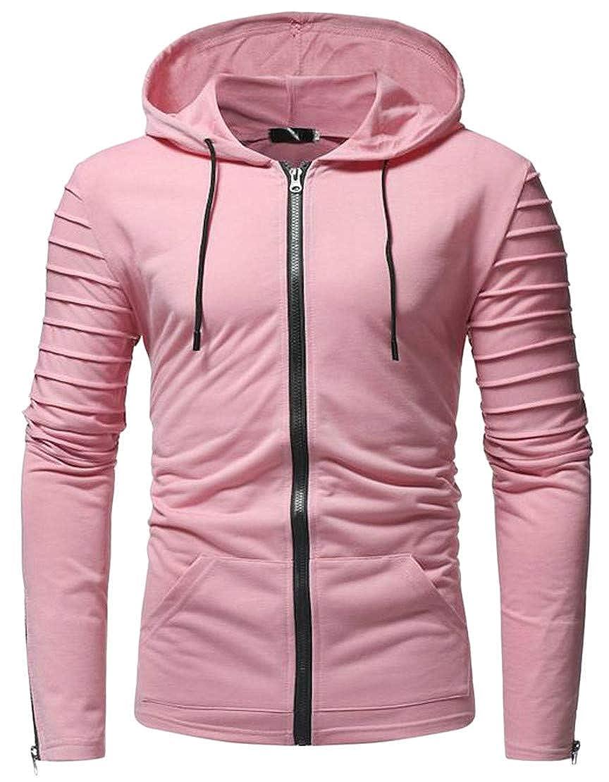 Blyent Mens Pleated Drawstring Pocket Comfortable Zipper Coat Hooded Sweatshirts