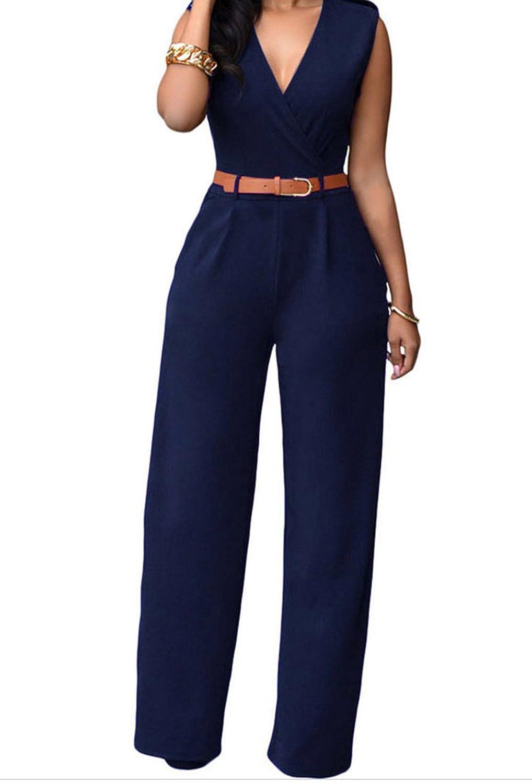 PEGGYNCO Womens Navy Blue V Neck Belt Embellished Jumpsuit