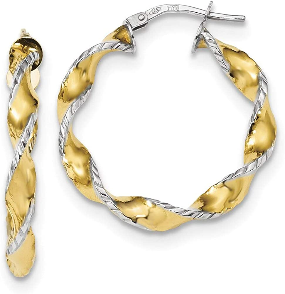 Lex /& Lu 14k Two-tone Gold Twisted Hoops LAL118842