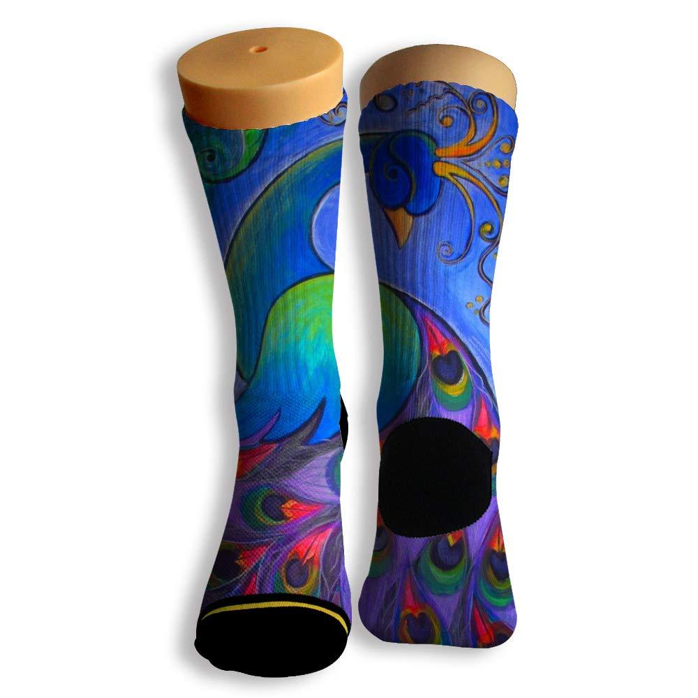 Basketball Soccer Baseball Socks by Potooy Peacock Poster 3D Print Cushion Athletic Crew Socks for Men Women