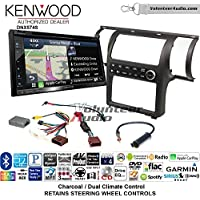 Volunteer Audio Kenwood DNX574S Double Din Radio Install Kit with GPS Navigation Apple CarPlay Android Auto Fits 2003-2004 Infiniti G35 (Charcoal) (Dual zone A/C controls)