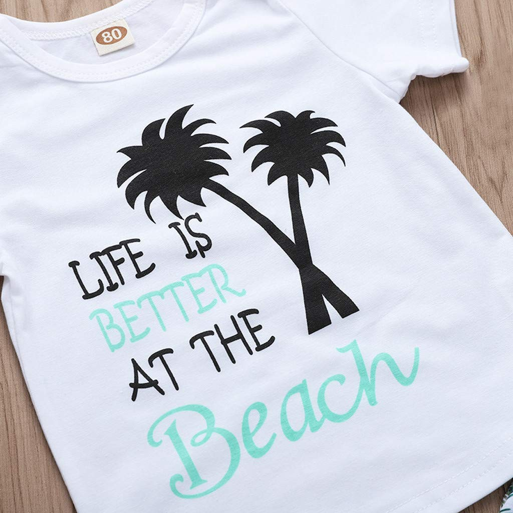 Lavany Baby Boys Girls Outfits 2pc Short Sleeve Beach Print Tops+Shorts Clothes Set White by Lavany (Image #5)