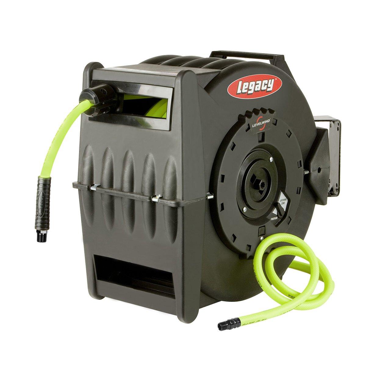 Flexzilla Levelwind Retractable Air Hose Reel, 3/8 in. x 75 ft, Heavy Duty, Lightweight, Hybrid, ZillaGreen - L8306FZ