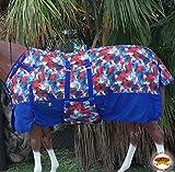 HILASON 80'' 1200D Winter Waterproof Horse Blanket Belly WRAP Fireworks Print