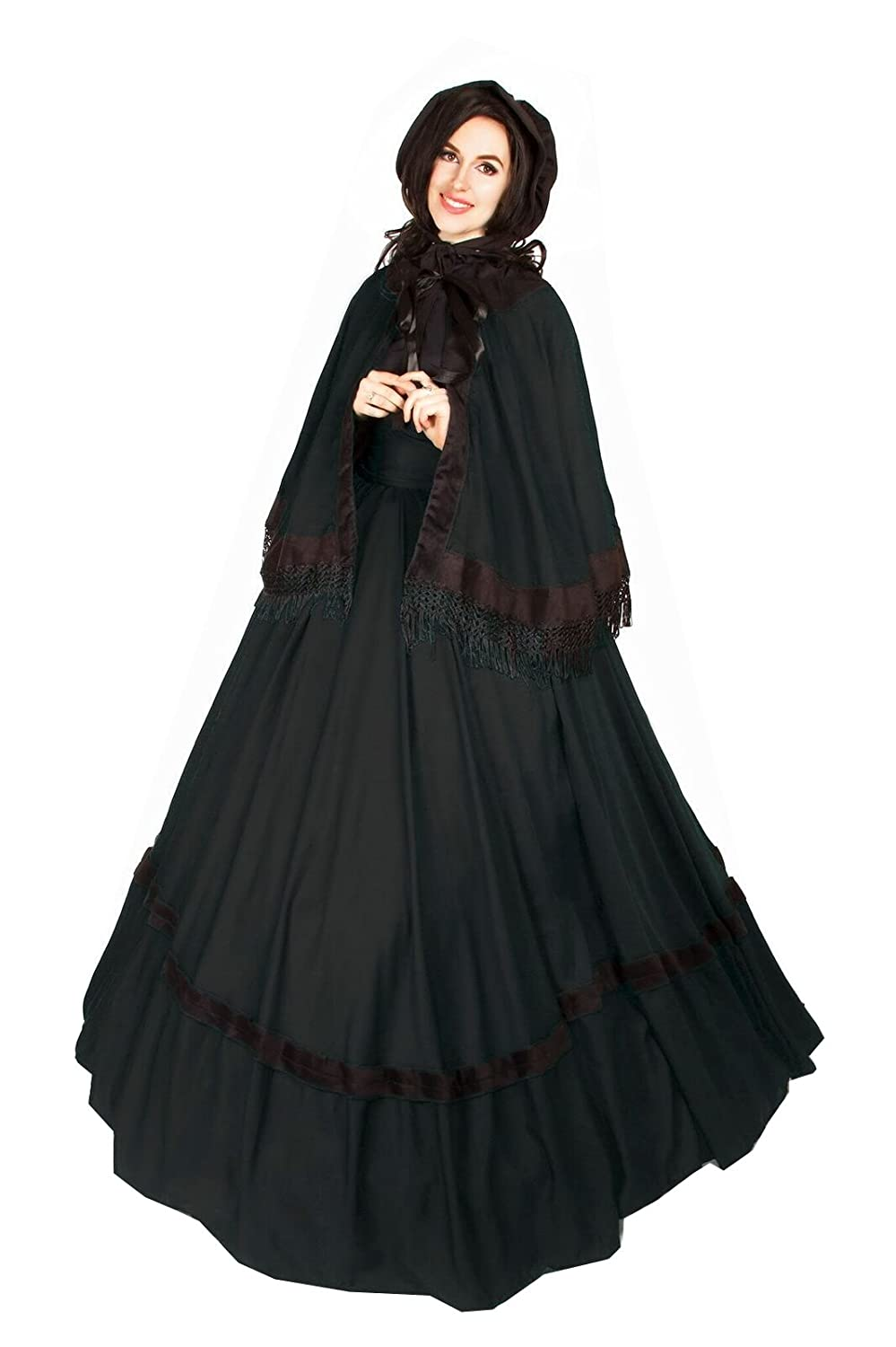 Victorian Dresses | Victorian Ballgowns | Victorian Clothing Reminisce Civil War reenactment Dickens Faire Victorian 3 Piece Cape Sash Dress $49.99 AT vintagedancer.com
