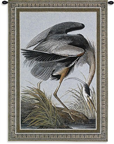 - Great Blue Heron by John Audubon - Woven Tapestry Wall Art Hanging - Detailed Bird Picture Naturalist Life-Nature Themed Artwork - 100% Cotton - USA 36X27