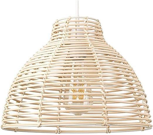 SUTIANZHANG Lámpara Colgante Moderna, Canasta de Mimbre Crema de Mimbre Estilo candelabro de luz Sombra de Techo iluminación Interior Accesorio de